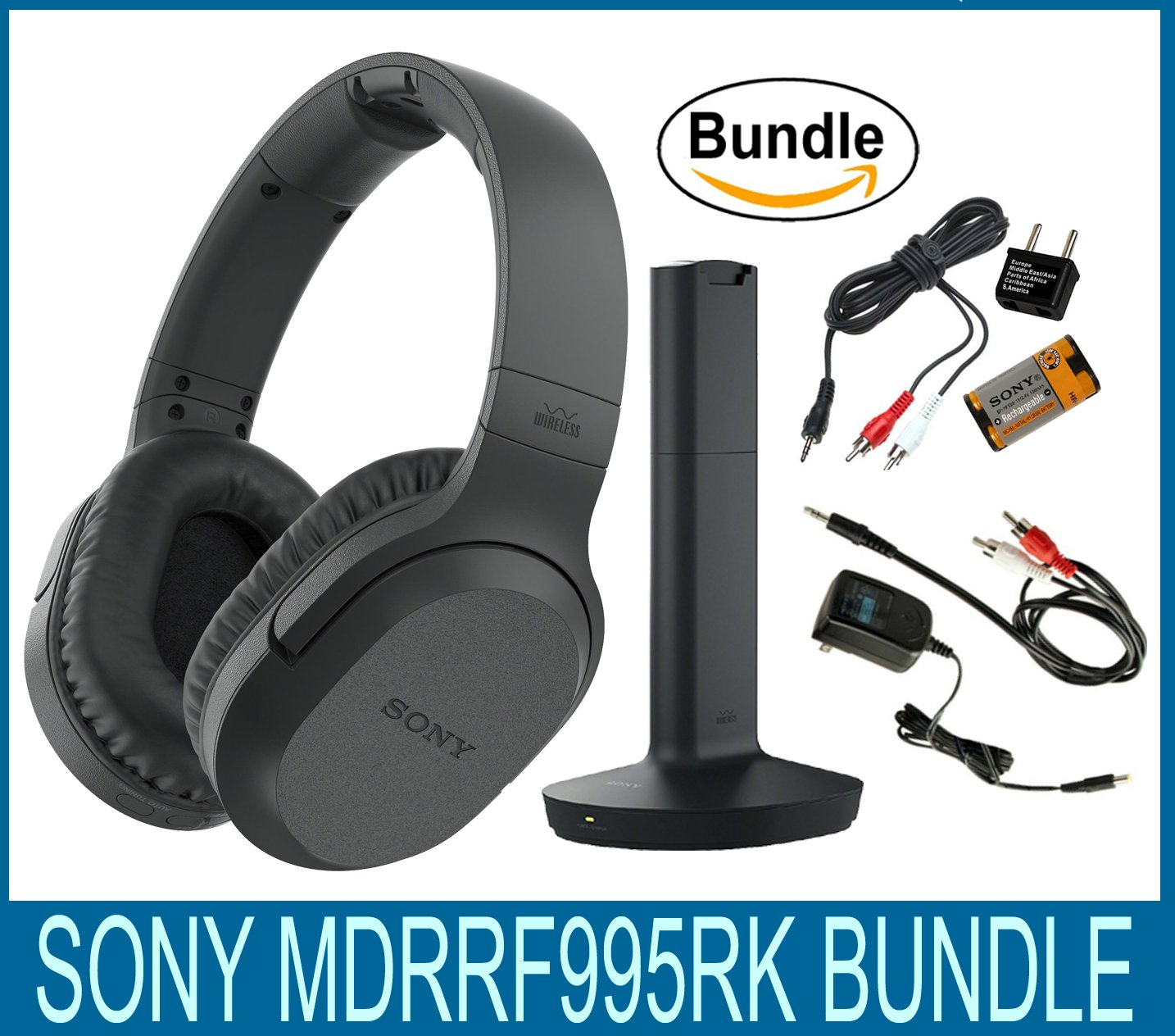 Sony RF995RK Wireless RF Headphones, Zonoz 6FT Stereo Audio Y Cable Splitter & Worldwide Voltage 110V/220V AC Adapter, Zonoz International Two-Prong Round Pin Plug Adapter (Bundle) by Sony