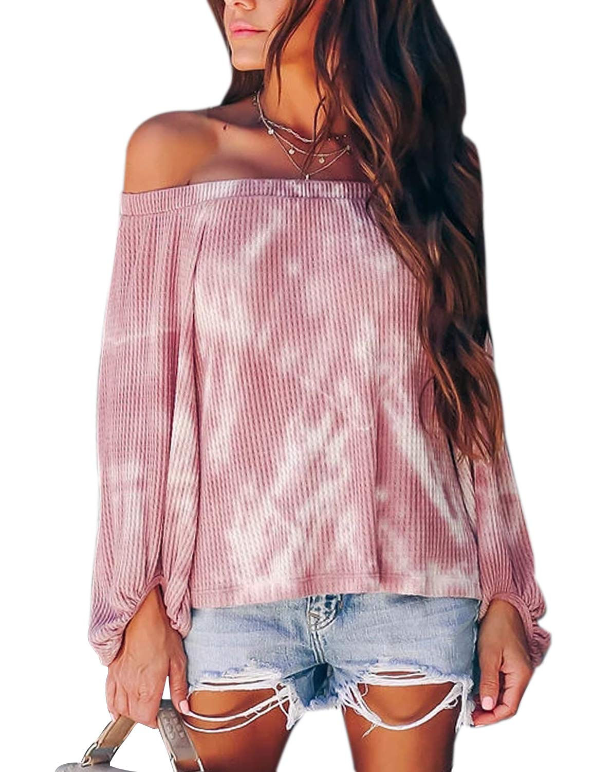 BMJL Women's Casual Long Sleeve Tie Dye Shirt Off Shoulder Tops Cute Plus Size Blouse(Medium,Tie dye)