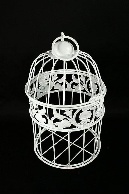 Pequeño decorativo Metal blanco jaula de pájaros boda o casa ...