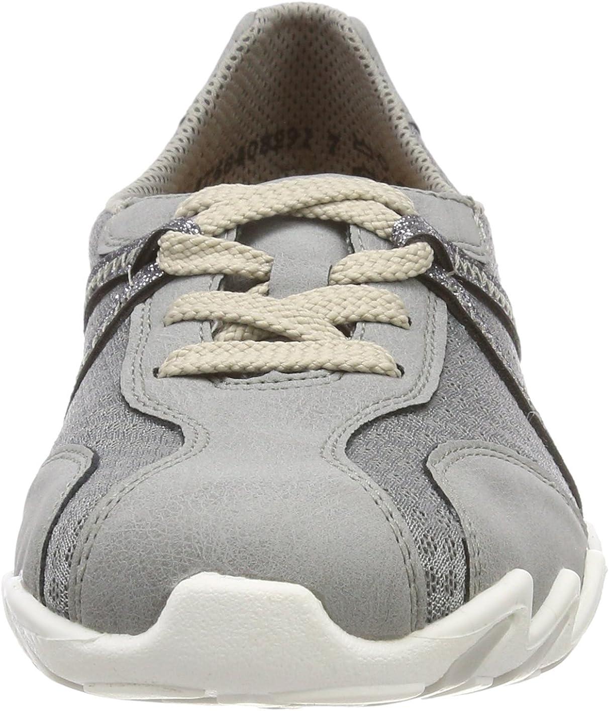 Rieker 49020, Sneakers Basses Femme Gris Staub Cenere Altsilber