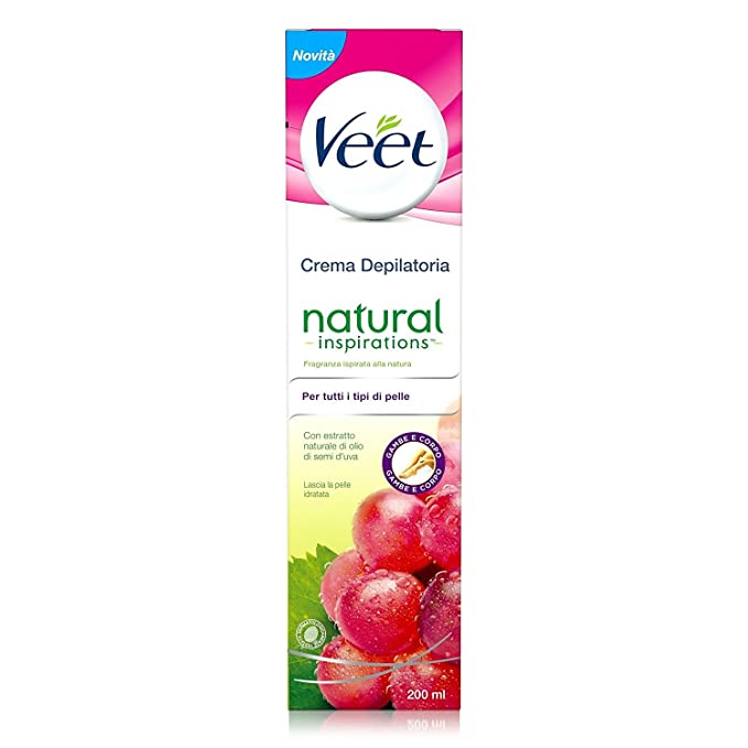 Veet - Natural inspirations crema depilatoria con traubenkernöl 200 ml - [confezione da 3]