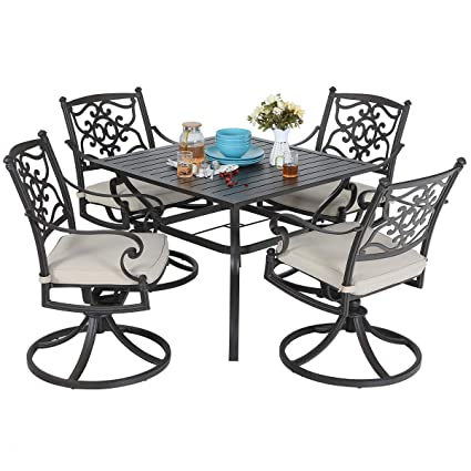 Excellent Mf Studio 5 Piece Fashion Dining Set 4 Patio Retro Cast Aluminum Swivel Chairs And 37 Metal Dining Table Outdoor Furniture Set Of 5 Brown Ncnpc Chair Design For Home Ncnpcorg