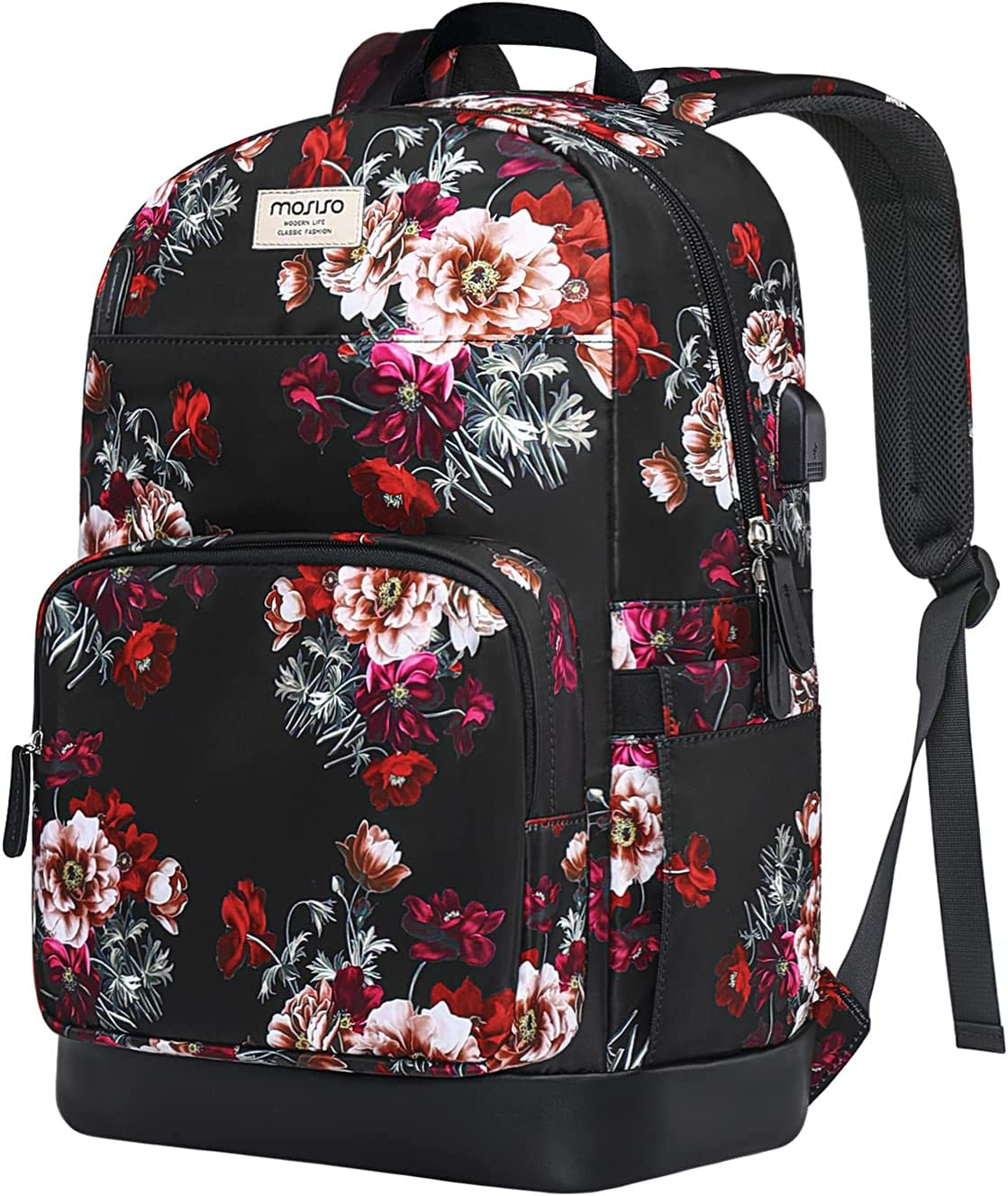 MOSISO 15.6-16 inch Laptop Backpack for Women Girls, Polyester Anti-Theft Stylish Casual Daypack Bag with Luggage Strap & USB Charging Port, Cottonrose Travel Business College School Bookbag, Black