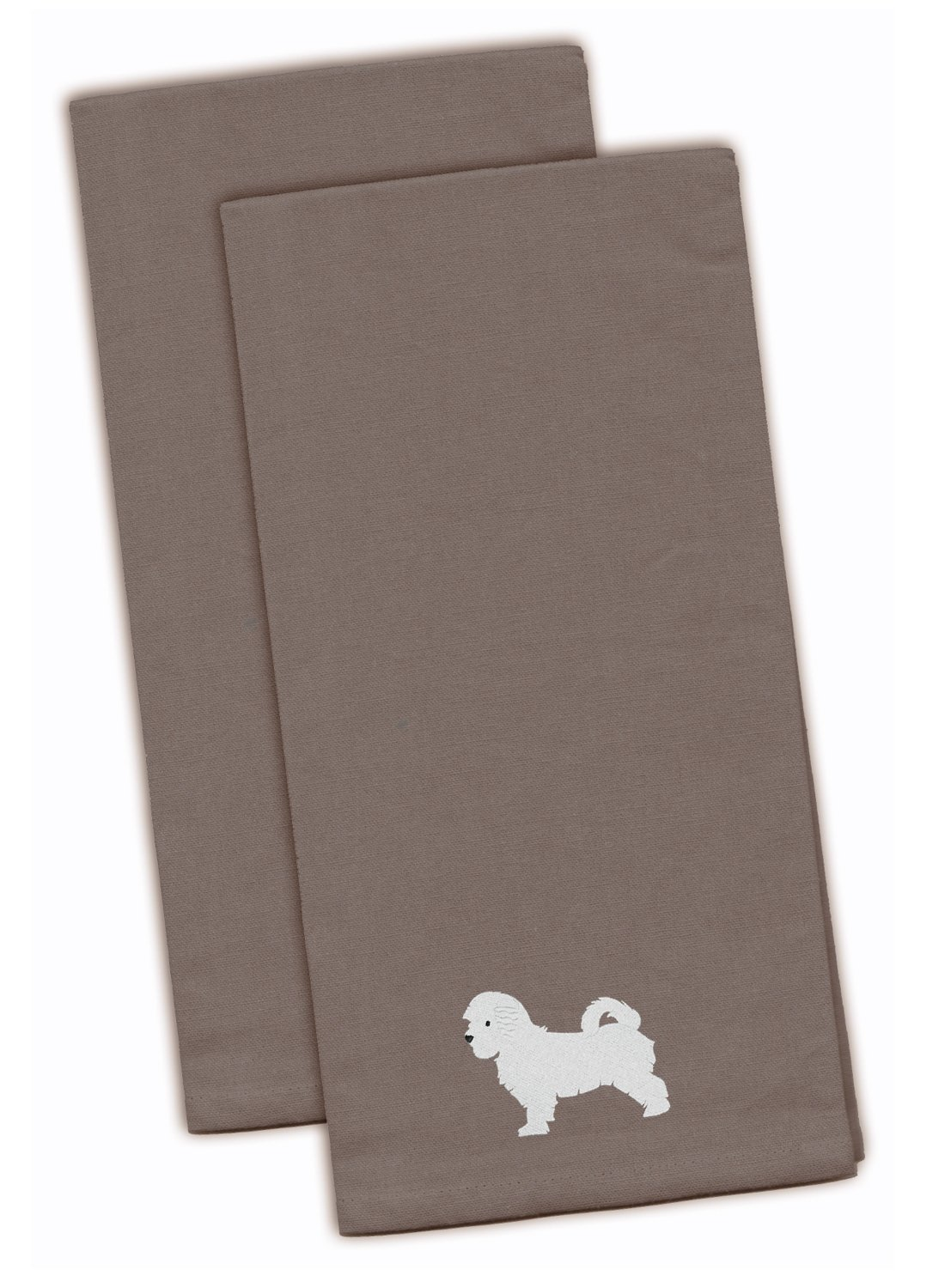 Carolines Treasures BB3416GYTWE Collie Gray Embroidered Kitchen Towel Set of 2 Multicolor 28 x 19