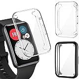 PUBUNUS 2 Piezas Funda con Protector de Pantalla Compatible con Huawei Watch Fit, Resistente a Rayones TPU Protector de Panta
