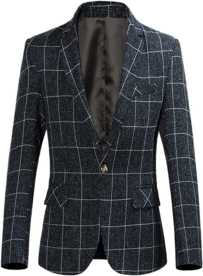 UFACE 2019 Hiver Homme Nouveau Slim Fit Veste Blazer Élégant à Carreaux Pied de Poule Costume Manteau Classique avec Bouton