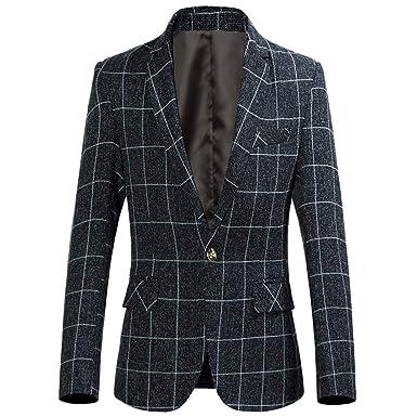 quality design fbb1d ba332 UFACE Homme Costume Élégant à Carreaux Coupe Irrégulière Slim Fit Outwear  Occasionnel Boutonnée Manches Longue Col