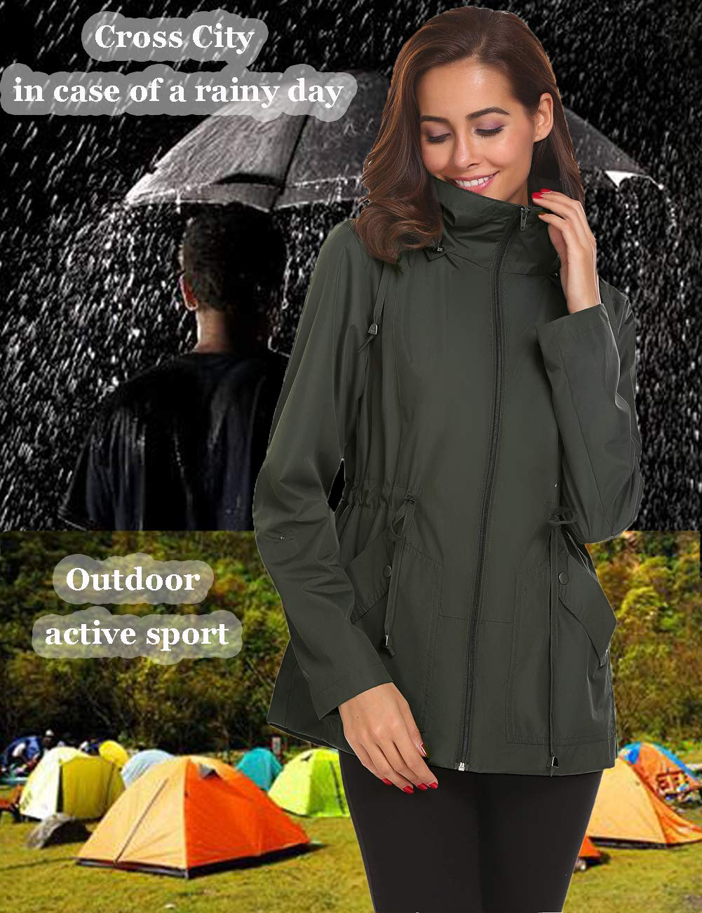 4c54a692f Romanstii Outdoor Active Rain Jacket Women Waterproof Lightweight Hood  Raincoat