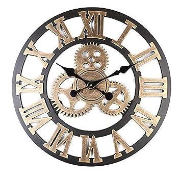 Mancru Équipement 3D Industriel Horloge Murale Ronde Grande Taille en Style  Vintage muet Horloge Murale 15 8ed90ffab7d4