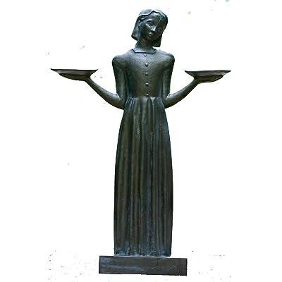 "Bird Girl Large with Pedestal ""37.5h : Garden & Outdoor"