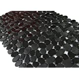 Anti-Slip Anti-Bacterial Stone Bath Mats,Slip-Resistant Shower Mats( Black,16 W x 35 L Inches)