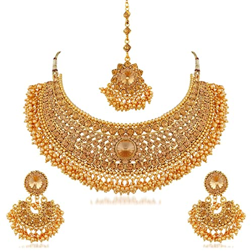 Buy Apara Bridal Gold Plated Pearl LCT Stones Necklace Jewellery Set For  Women (Golden) Online at Low Prices in India  24808a8e6