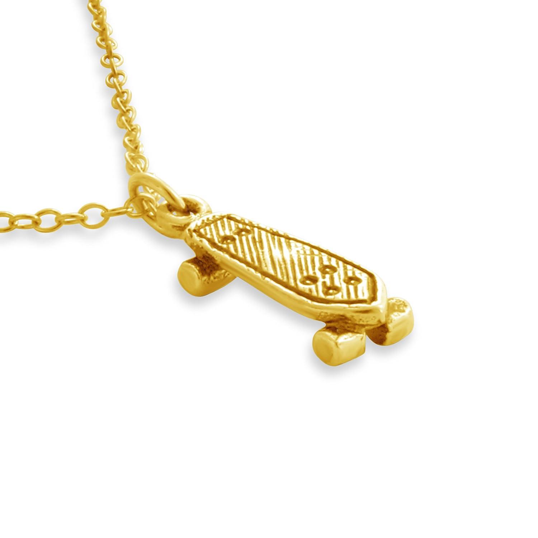 Azaggi 3D Skateboard Charm Pendant #14K Gold Plated over 925 Sterling Silver P0217G