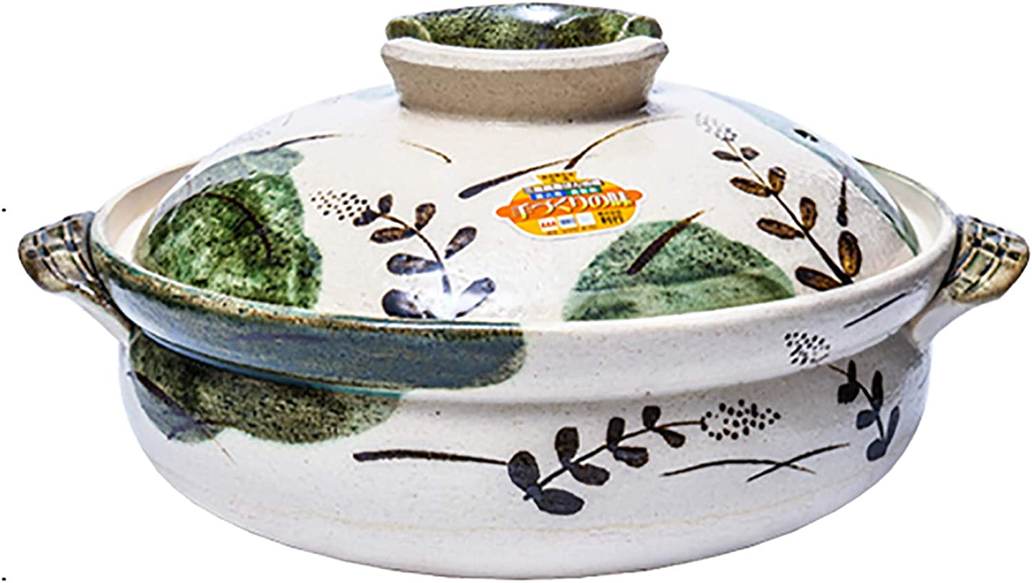 BB&UU Clay Pot for Cooking,Round Porcelain Hot Pot Casserole,Korean Earthenware Pot with Lid,Made in Japan,Authentic Japanese Donabe Rice Pot-Leaf Pattern 18.5x6.7cm(7x3inch)