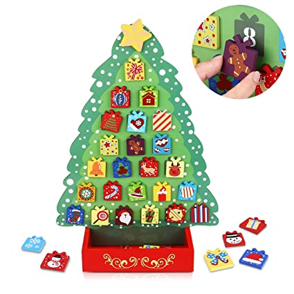 toyvian christmas countdown calendar wooden advent calendar christmas tree decor magnet