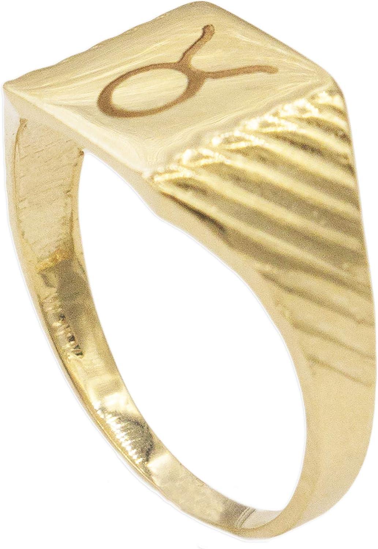 10k or 14k Solid Yellow Gold Zodiac CZ Ring Aquarius