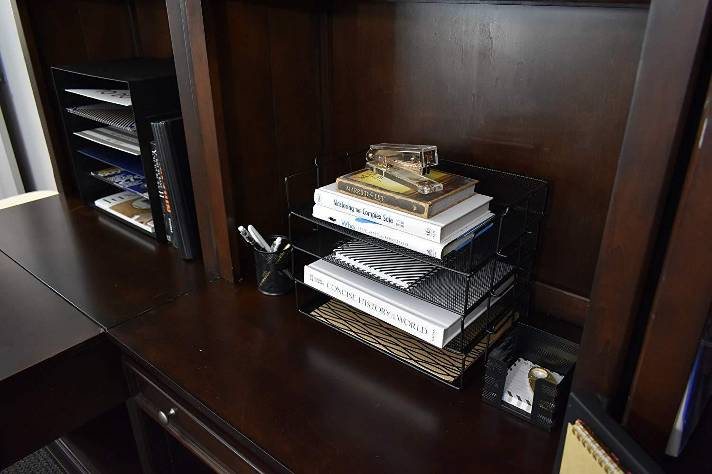 Klickpick Office 2 Tier Stackable Heavy Duty Metal Desktop Letter Tray File Organizer Sorter Desk Document Organizer Shelf Tray Magazine Holder Paper File Newspaper Organizer Tray Pink by Klickpick Office (Image #5)