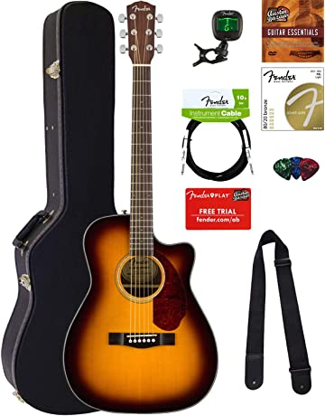 Fender CC-140SCE Concert Acoustic-Electric Guitar - Sunburst Bundle with Hard Case,