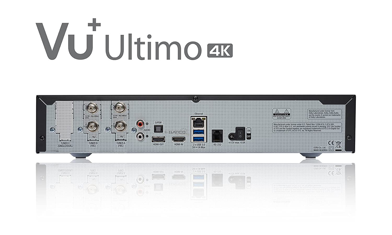 Vu+ Ultimo 4K Satélite Alta Definición Total Negro TV Set-Top Boxes - Reproductor/sintonizador (Satélite, DVB-S2, 576p,720p,1080i,1080p,2160p, 4:3, 16:9, ...