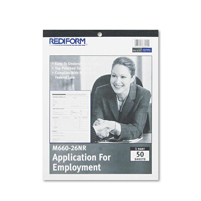 Rediform M66026NR Employment Application 8 1/2 x 11 50 Forms by Rediform (Image #1)