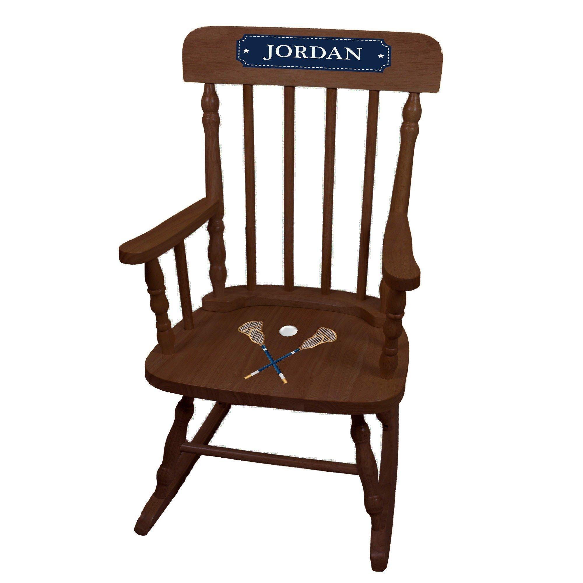 MyBambino Personalized Lacrosse Sticks Espresso Childrens Rocking Chair