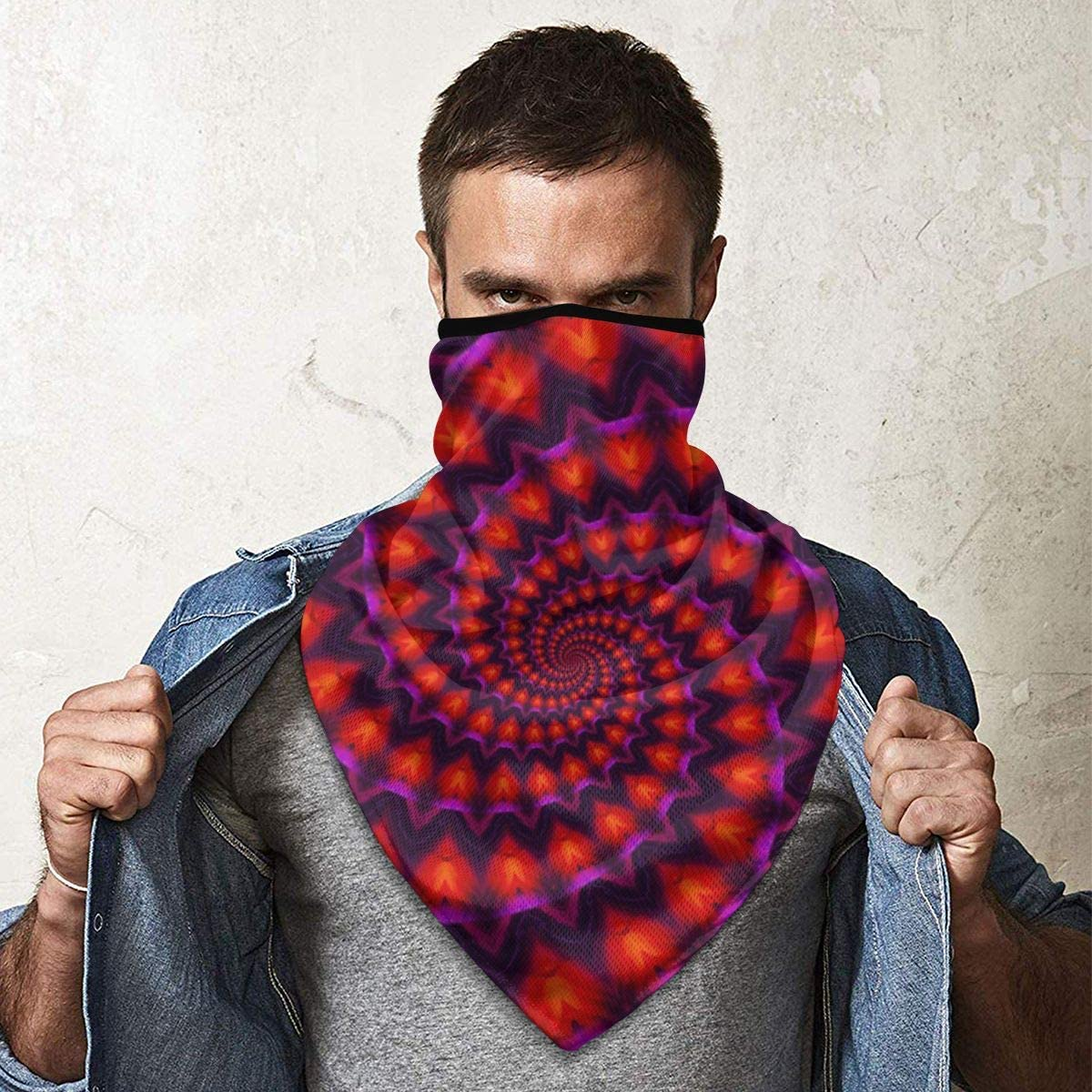 Power Spiral Kaleidoscope Red Violet Fractal Neck Gaiter Warmer Windproof Mask Balaclava Face Mask Sports Mask For Outdoor Men And Women Free UV Customized
