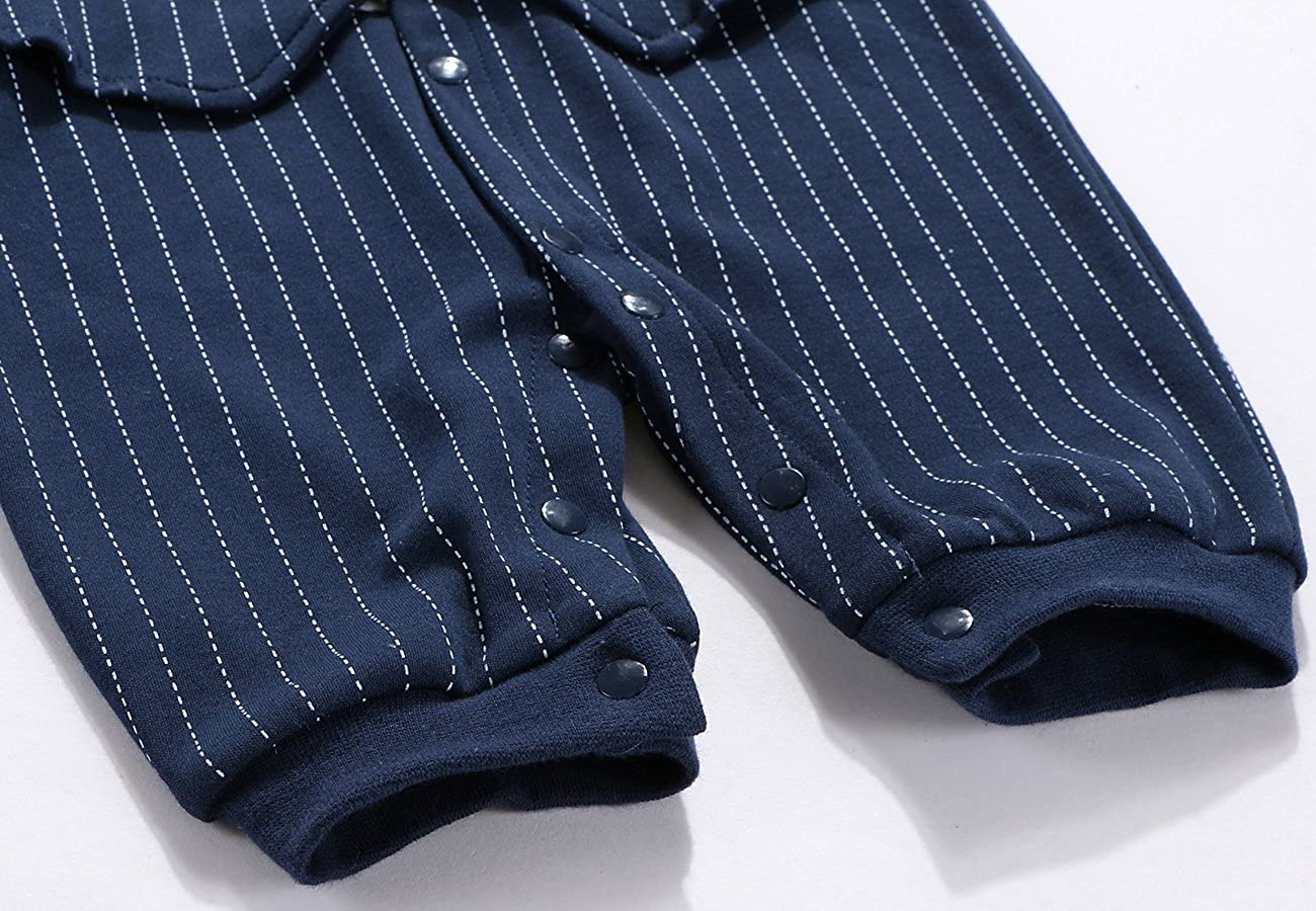 Mornyray Baby Boy Formal Jumpsuit Cotton One Piece Shirt with Bow Tie