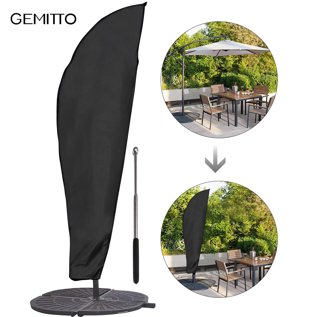 GEMITTO Umbrella Cover, Simply Shade Waterproof Patio Outdoor Umbrella Cover, Durable Offset Off Swing Umbrella Cover with Rod, Fits for 9-11ft Cantilever Overhang Umbrella by GEMITTO