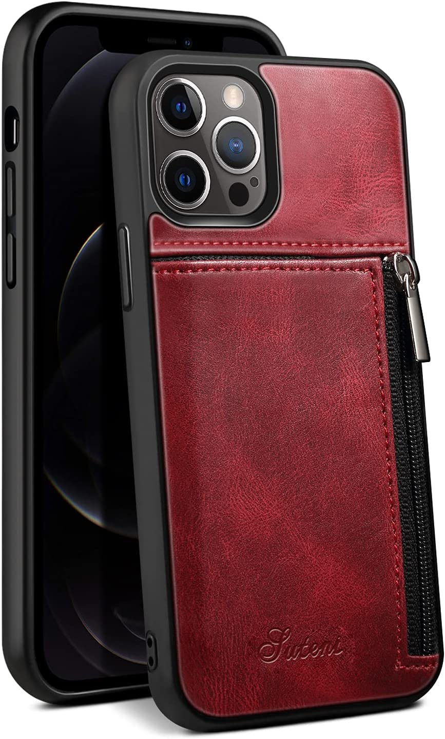 Cover Compatible with 12 Pro Max 2020 128GB 256GB 512GB 6.7 Red Cardslot Zipper Durable Convenience Premium PU Leather Fashion Protective Shockproof Soft Case for Unisex
