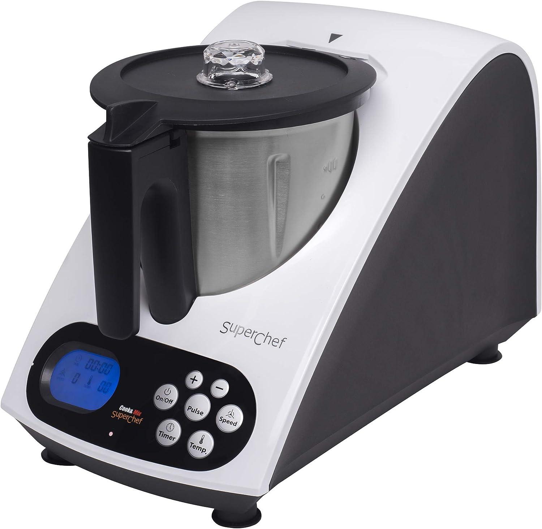 Superchef Robot de Cocina VA1500 Cook&MIx, 1100w+500w, jarra de 2 litros de capacidad real, 10 velocidades, de 40º a 110º: Amazon.es: Hogar