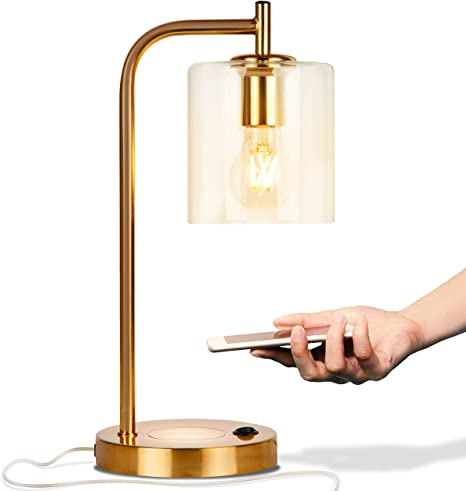 Amazon Com Brightech Elizabeth Office Desk Lamp Wireless Charging Pad And Usb Port Living Room Table Light For Midcentury Industrial Farmhouse Decor Hanging Glass Shade Led Bulb
