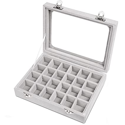 dc8864842 Meshela 24 Section Velvet Glass Jewelry Ring Display Organiser Case Tray  Holder Earrings Storage Box(Grey): Amazon.co.uk: Kitchen & Home