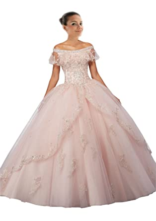 4a4d9a2aea6 Mollybridal Sliver Embroidery Off Shoulder Ball Gown Quinceanera Prom Dress  Tulle Long 2018 Beaded Lace up at Amazon Women s Clothing store