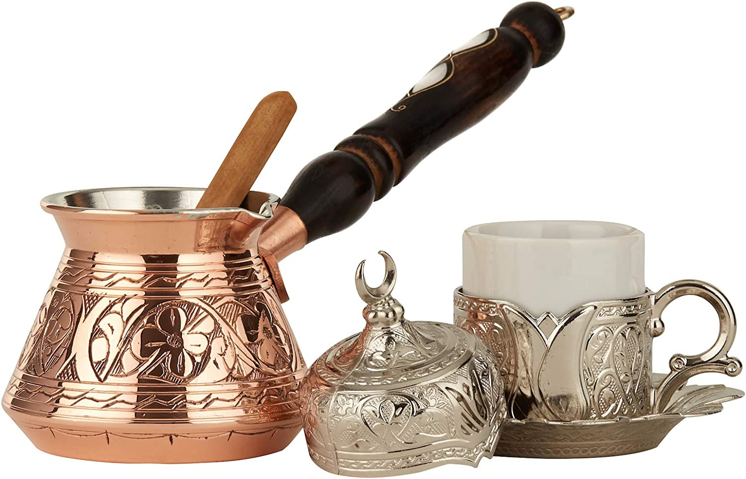 DEMMEX 6 Pcs Turkish Greek Coffee Set for 1 with Engraved Copper Pot and Heavy Duty Cup Saucer Lid and Spoon (Copper & Silver)