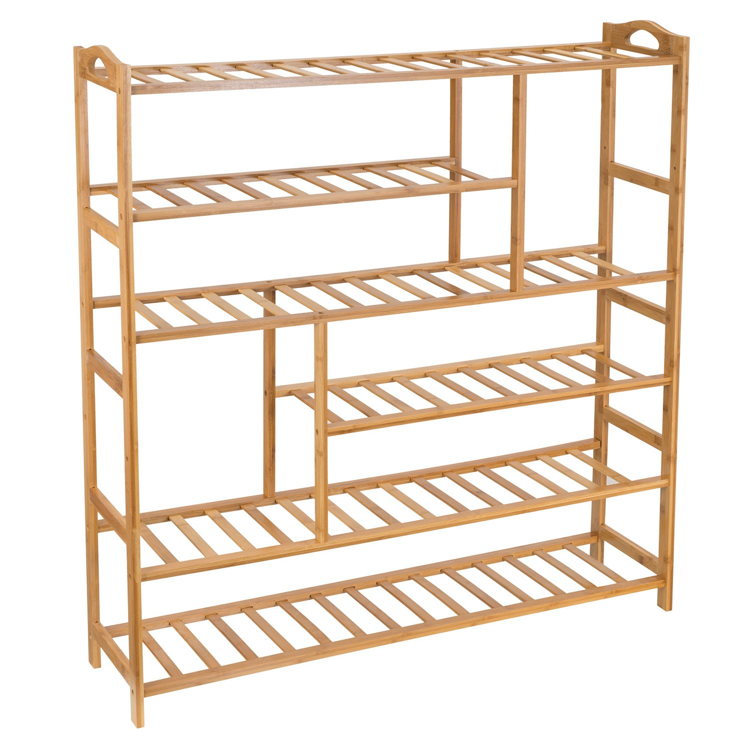 Ollieroo Bamboo Shoe Rack 6-Tier Entryway Shoe Shelf Storage Organizer Free Standing Shelves ST21202