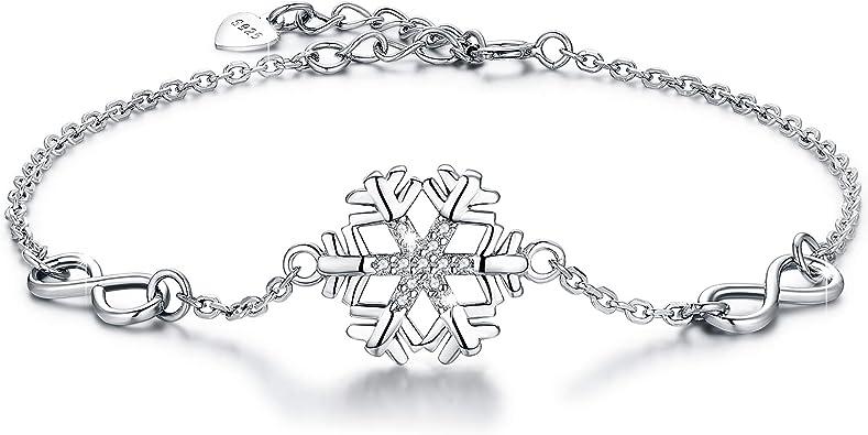 REAL 925 Sterling Silver Cubic Zirconia CZ Charm Bracelet Womens Jewelry Gift UK