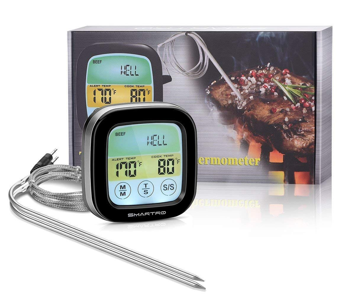 SMARTRO ST59 Meat Thermometer Instant Read Food Thermometer Digital Cooking Thermometer for Oven, Kitchen, Grilling, Smoker with Timer Alert 2 Probes