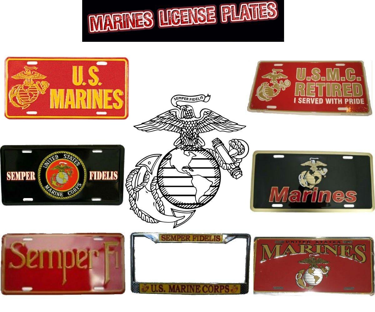 AES Industries Semper Fi U.S Marine-Diamond Front Novelty License Plate 6x12