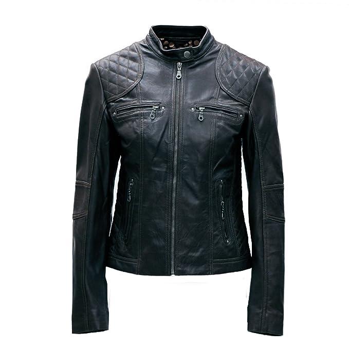 3d8f6c1fa7500 PAUL BERMAN Ladies Real Leather Biker Jacket Black  Amazon.co.uk  Clothing