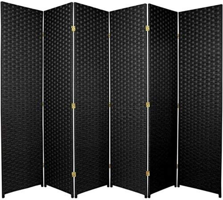 Oriental Furniture 6 ft. Tall Woven Fiber Room Divider - 6 Panel - Black