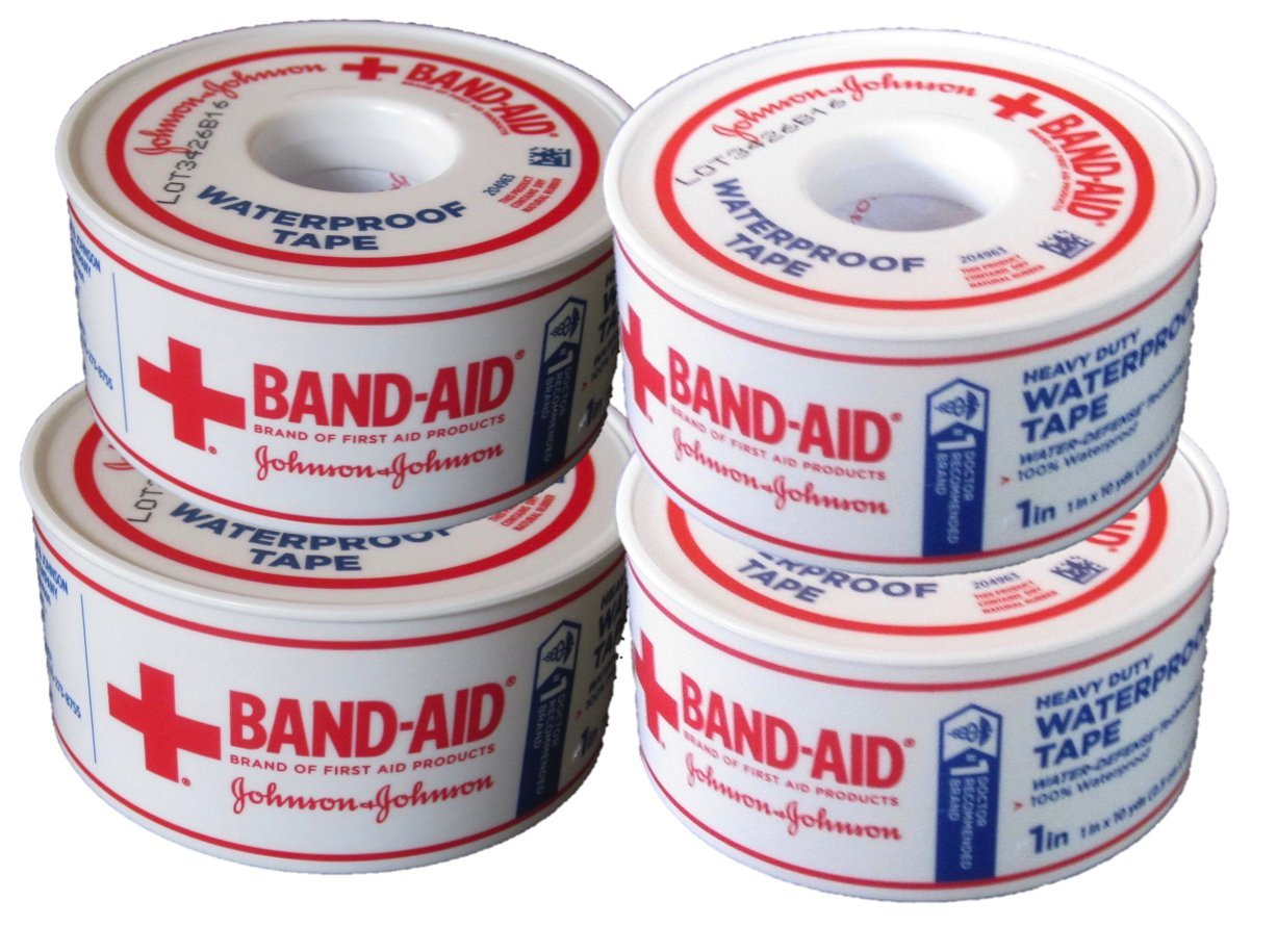 Johnson & Johnson BAND-AID Waterproof Tape (4-Pack) 1-inch x 10 yards - Heavy Duty by Band-Aid