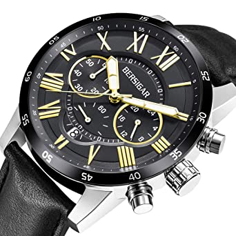 23ed3925e Men's Analog Chronograph Quartz Watch with Stylish Black Leather Strap  Watches Business Casual Roman Numerals Wrist