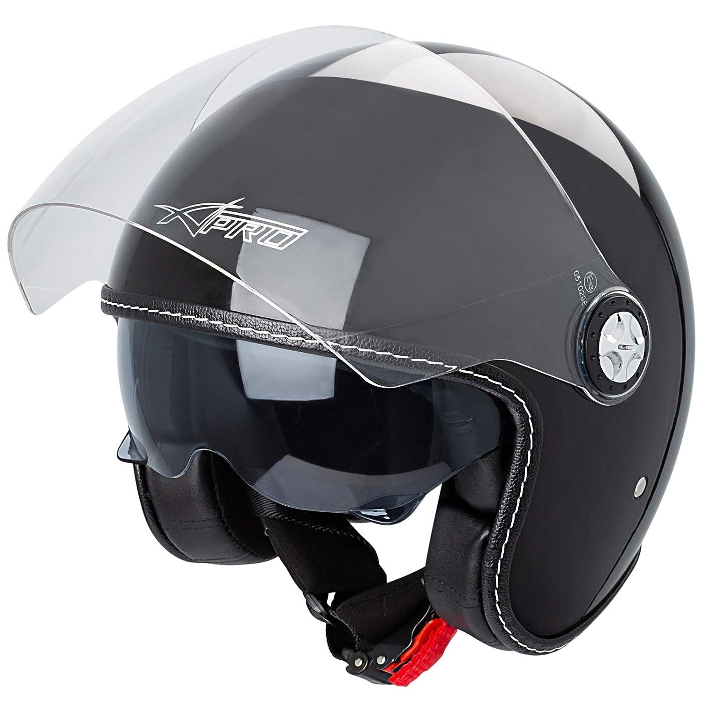 Jet Helmet City Retrò Open Face Motorcycle Double Visor Scooter Matt Grey