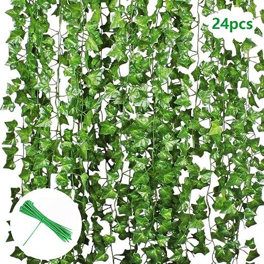Hiedra artificial, Vine Green Ivy Leaves Garland 20 Paquetes Cada 82 pulgadas Planta colgante de hiedra para decorar la cerca de la pared Jardín: Amazon.es: Juguetes y juegos