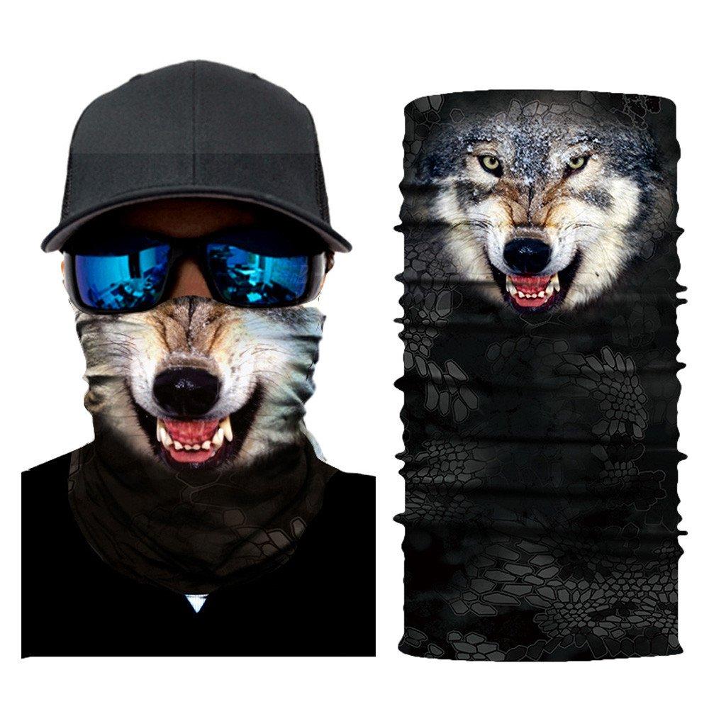 Rameng- Cagoule Masque Facial Tour de Cou Animaux 3D Bandeau Magique Multifonction Homme Femme (A)