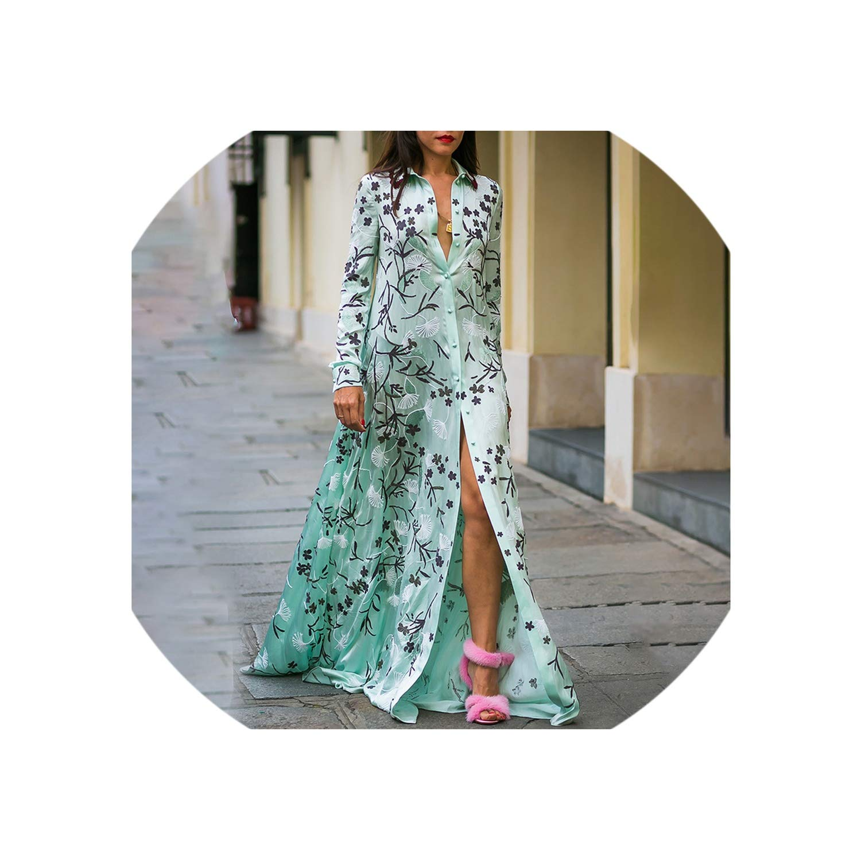 Turquoise Hiloo dresses Summer Women Plus Size Green Print Boho Dress Ladies Long Sleeve Floor Length Shirt Dress