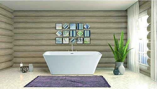 Vanity Art 67 Inch Freestanding Acrylic Bathtub Modern Stand Alone Soaking Tub