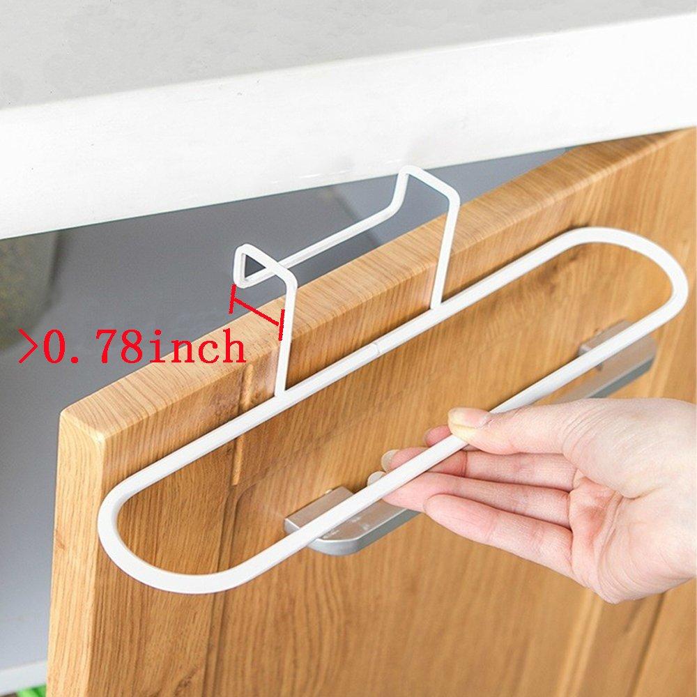Alliebe 2pcs Towel Rack Hanging Holder for Organizer Bathroom Kitchen Cabinet Cupboard Hanger Over Door(White and Black) /並/行/輸/入/品