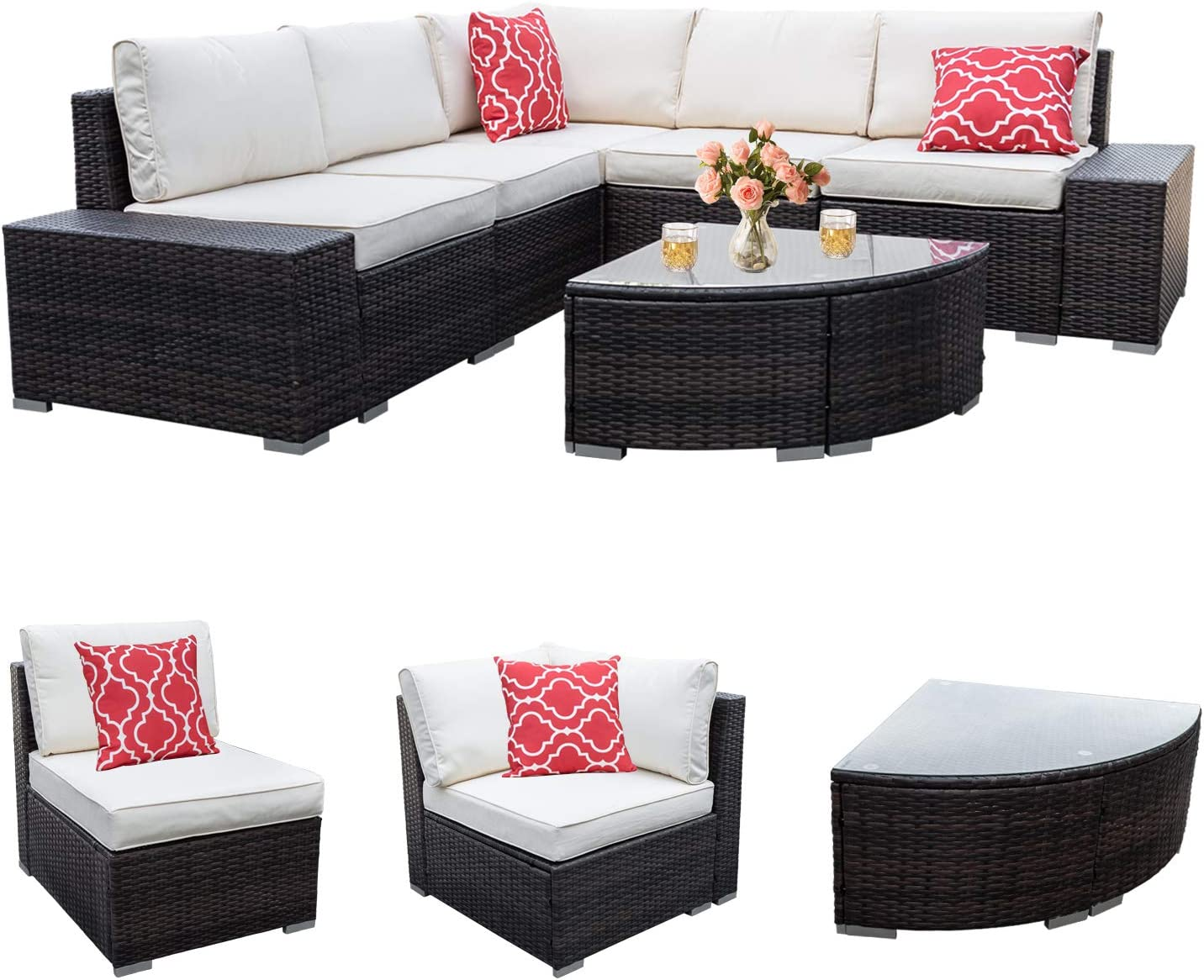Go Beyond 6 Piece Patio Furniture Sets Outdoor Sectional All Weather Sofa Couch Set, PE Rattan Manual Weaving Wicker Patio Sofa Set & Garden Conversation Set with Cushions and Glass Table (Brown)