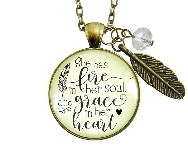 Amazoncom 24 She Has Fire In Her Soul Necklace Grace In Heart